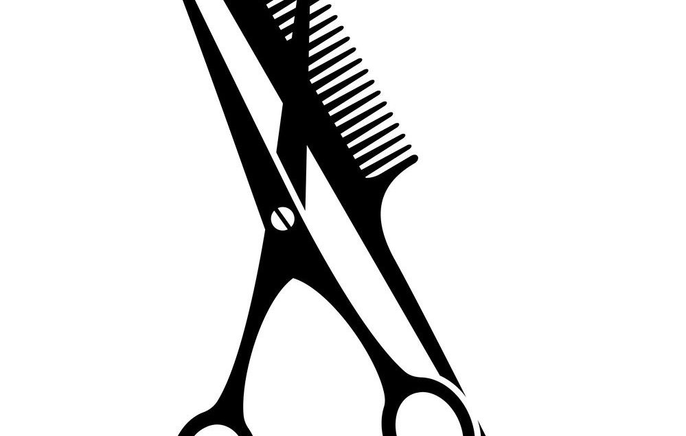 Black and white comb and open scissors silhouette. Hairdresser tool symbol. Beauty salon themed vector illustration for icon, stamp, label, certificate, brochure, leaflet, poster or banner decoration